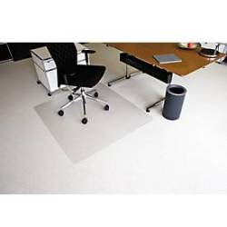 RS Office Products Bodenschutzmatte Ecoblue 120 x 130 cm Form O für Teppichböden transparent PET