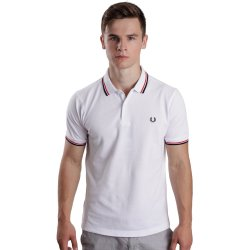 Fred Perry Slim Fit Twin Tipped White Bright Red Navy Polos