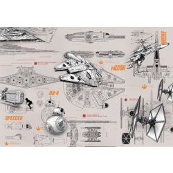 Komar Fototapete Star Wars Blueprints 368 cm x 254 cm